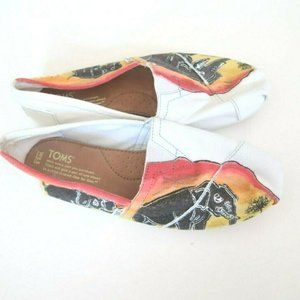 Toms white Yellow Handpainted Elephant Flats Shoes